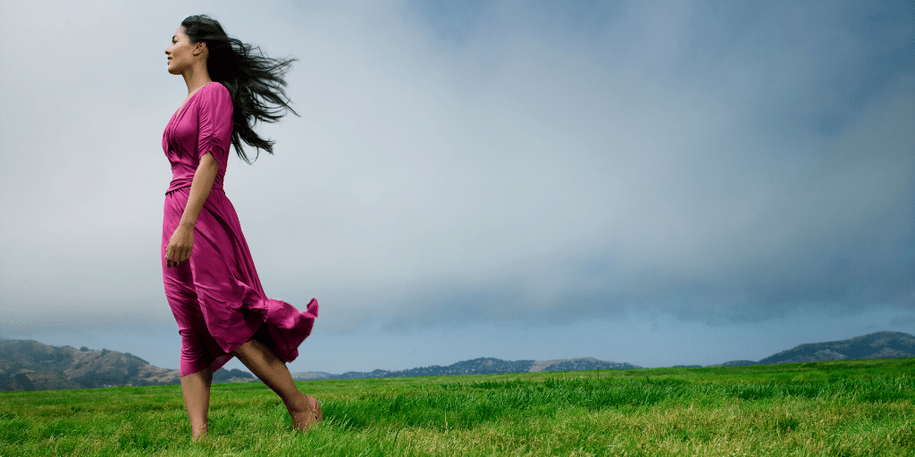 Walk barefoot on grass to ground yourself